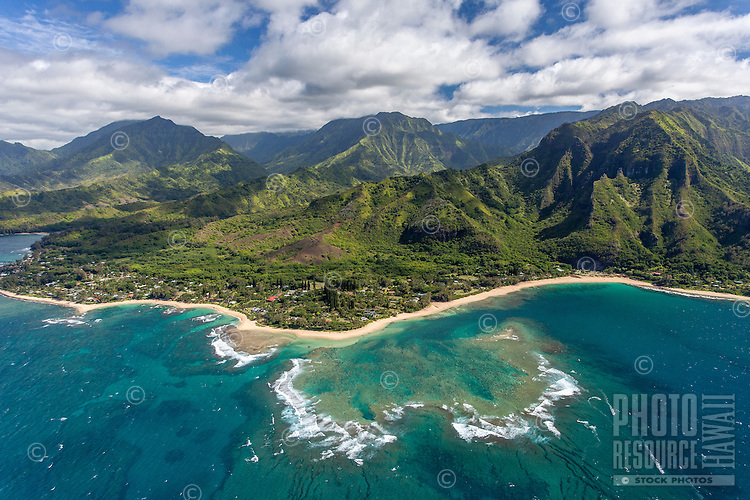 An aerial view of Haena, north shore, Kaua'i