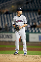 Scranton/Wilkes-Barre RailRiders relief pitcher Brady Lail (24) gets ready to deliver a pitch during a game against the Syracuse Chiefs on June 14, 2018 at NBT Bank Stadium in Syracuse, New York.  Scranton/Wilkes-Barre defeated Syracuse 9-5.  (Mike Janes/Four Seam Images)