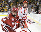 Colin Blackwell (Harvard - 63), Ryan Ruikka (BU - 2) - The Boston University Terriers defeated the Harvard University Crimson 3-1 in the opening round of the 2012 Beanpot on Monday, February 6, 2012, at TD Garden in Boston, Massachusetts.