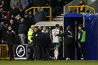 Joe Williams of Barnsley heads to the dressing room after receiving a red card during Millwall vs Barnsley, Emirates FA Cup Football at The Den on 6th January 2018