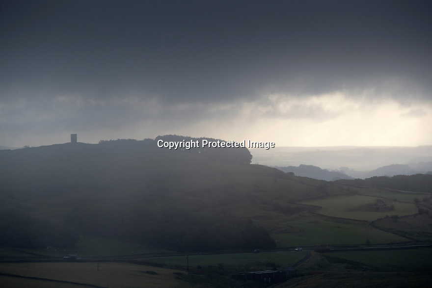 13/09/17<br /> <br /> Clouds shroud Grinlow Tower near Buxton as storm Aileen blows into give the Derbyshire Peak District  good soaking.<br /> <br /> <br /> All Rights Reserved F Stop Press Ltd. (0)1773 550665 www.fstoppress.com