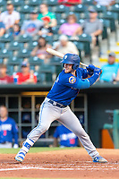 Zach Borenstein (18) of the Las Vegas 51s at bat during a game against the Oklahoma City Dodgers at Chickasaw Bricktown Ballpark on June 17, 2018 in Oklahoma City, Oklahoma. Oklahoma City defeated Las Vegas 5-3  (William Purnell/Four Seam Images)