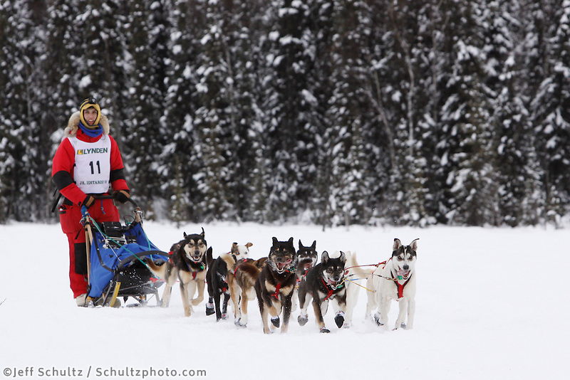 Sunday February 28, 2010   Jeremiah Klejka on the trail just prior to finishing the 2010 Jr. Iditarod in 4t place .  Willow AK