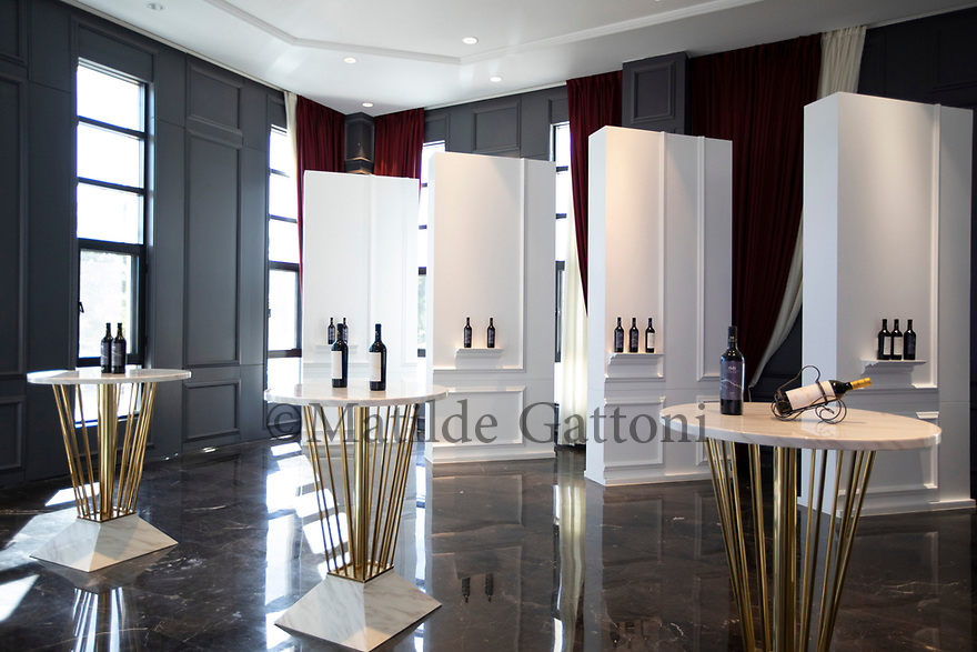 China - Ningxia - Wine bottles desplayed at the Chateau Mihope, built in 2016 by an Italian designer at a cost of 25 million euros. It belongs to Midea Group, one of the biggest manufacturers of electric appliances in China.<br />