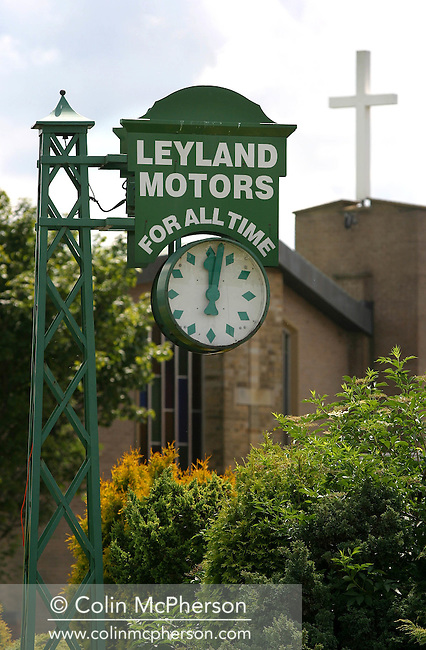 A sign for Leyland Motors which stands in a roundabout in the centre of Leyland in Lancashire. The sign once stood at the Leyland Motors factory in the town. Leyland Trucks still has a factory in the town, employing 900 workers..