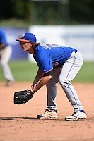 Trevor Jennings (13) Spanish Fort High School in Spanish Fort, Alabama playing for the New York Mets scout team during the East Coast Pro Showcase on August 2, 2014 at NBT Bank Stadium in Syracuse, New York.  (Mike Janes/Four Seam Images)