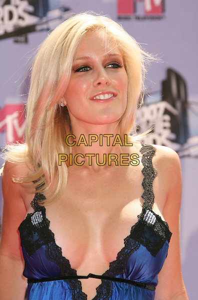 HEIDI MONTAG .2007 MTV Movie Awards held at the Gibson Amphitheater, Universal City, California, USA..June 3rd, 2007.headshot portrait black blue lace plunging neckline cleavage .CAP/ADM/RE.©Russ Elliot/AdMedia/Capital Pictures *** Local Caption *** ...