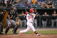 Peoria Chiefs second baseman Richy Pedroza (22) at bat in front of catcher Will Remillard (20) during a game against the Kane County Cougars on June 2, 2014 at Dozer Park in Peoria, Illinois.  Peoria defeated Kane County 5-3.  (Mike Janes/Four Seam Images)