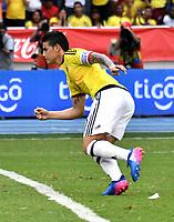 BARRANQUILLA – COLOMBIA - 23 – 03 -2017: James Rodriguez, jugador de Colombia corre a celebrar el gol anotado a Bolivia, durante partido entre los seleccionados de Colombia y Bolivia, de la fecha 13 válido por la clasificación a la Copa Mundo FIFA Rusia 2018, jugado en el estadio Metropolitano Roberto Melendez en Barranquilla. /  James Rodriguez, player of Colombia runs to celebrate a scored goal to Bolivia, during match between the teams of Colombia and Bolivia, of the date 13 valid for the Qualifier to the FIFA World Cup Russia 2018, played at Metropolitan stadium Roberto Melendez in Barranquilla. Photo: VizzorImage / Luis Ramirez / Staff.