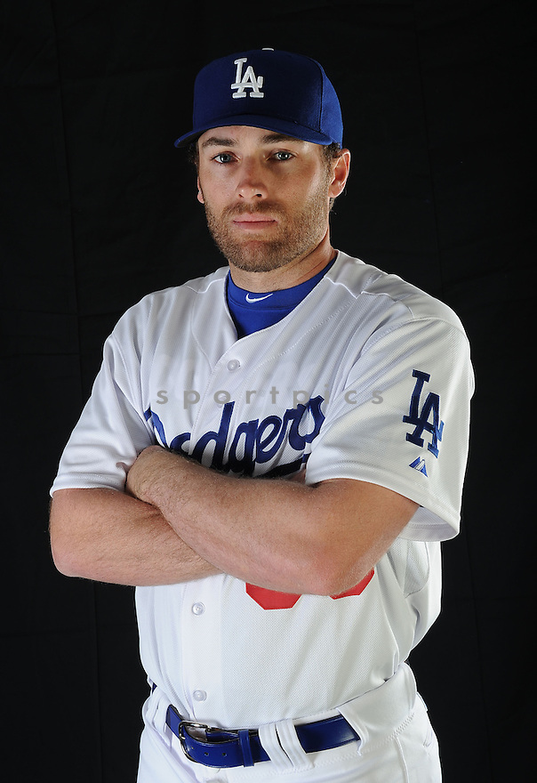 LA Dodgers Nick Evans (63) at media photo day on February 17, 2013 during spring training in Glendale, AZ.