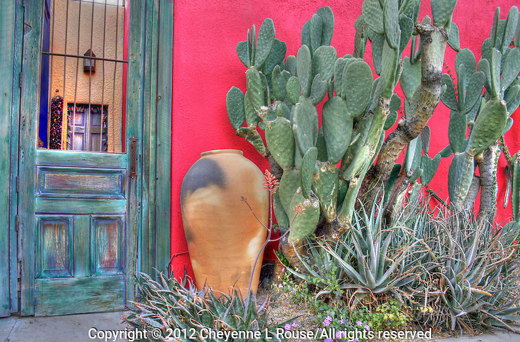 Historic &quot;El Barrio&quot; neighborhood in Tucson, Arizona with row after row of charming and colorful adobe houses built in the 1800's - since restored.<br />