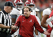 January 8th 2018, Atlanta, GA, USA;  Alabama Crimson Tide Head Coach Nick Saban questions an Officials call during the College Football Playoff National Championship Game between the Alabama Crimson Tide and the Georgia Bulldogs on January 8, 2018 at Mercedes-Benz Stadium in Atlanta, GA. (Photo by David John Griffin/Icon Sportswire)