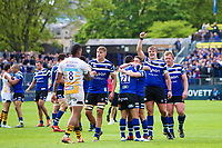 Bath Rugby players celebrate at the final whistle. Gallagher Premiership match, between Bath Rugby and Wasps on May 5, 2019 at the Recreation Ground in Bath, England. Photo by: Ian Johnson for Onside Images