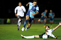 Nathan Tyson of Wycombe Wanderers and Michael Madl of Fulham during the Carabao Cup match between Wycombe Wanderers and Fulham at Adams Park, High Wycombe, England on 8 August 2017. Photo by Alan  Stanford / PRiME Media Images.