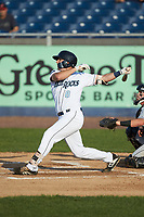 Brewer Hicklen (8) of the Wilmington Blue Rocks follows through on his swing against the Fayetteville Woodpeckers at Frawley Stadium on June 6, 2019 in Wilmington, Delaware. The Woodpeckers defeated the Blue Rocks 8-1. (Brian Westerholt/Four Seam Images)