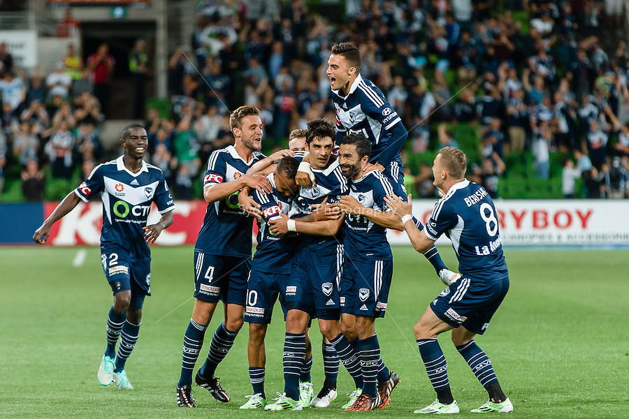 Gui FINKLER of the Victory celebrates his goal in round 12 A-League match between Melbourne Victory and Newcastle Jets at AAMI Park in Melbourne, Australia during the 2014/2015 Australian A-League season. Melbourne def Newcastle 1-0