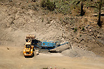 Stone crusher - Digging out mountain to widen roads, Vallehermosa, La Gomera, Canary Islands, Spain