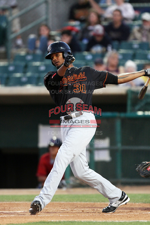 Juan Duran #31 of the Bakersfield Blaze bats against the Lancaster JetHawks at Clear Channel Stadium on May 7, 2012 in Lancaster,California. (Larry Goren/Four Seam Images)