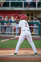 Ricky Martinez (27) of the Orem Owlz at bat against the Ogden Raptors in Pioneer League action at Home of the Owlz on June 20, 2015 in Provo, Utah.The Raptors defeated the Owlz 9-6.  (Stephen Smith/Four Seam Images)