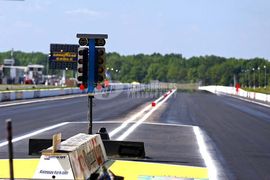 Jun. 2, 2013; Englishtown, NJ, USA: Overall view of the starting line light system at Raceway Park prior to the Summer Nationals. Mandatory Credit: Mark J. Rebilas-