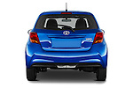 Straight rear view of a 2015 Toyota Yaris Le 5 Door Hatchback stock images