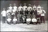 BNPS.co.uk (01202 558833)<br /> Pic:  PeterWilson/BNPS<br /> <br /> The crew of the R34 airship, including pet dogs and a cat.<br /> <br /> A charming letter which was carried on the first airship to cross the Atlantic has come to light 100 years later.<br /> <br /> Reverend George Jones, who was stationed at the Royal Naval Air Station East Fortune near Edinburgh, wanted to surprise his sister Donie by sending her a letter from America.<br /> <br /> So he gave the letter to one of the crew of airship R34 ahead of the historic flight on July 2, 1919, and asked him to post it to Donie from New York.<br /> <br /> He obliged and the letter reached its final destination in Bournemouth, Dorset, several months later as it made the return journey via ship.