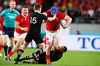 1st November 2019, Tokyo, Japan;  Rhys Carre (WAL) straight arm tackles Beauden Barrett ; 2019 Rugby World Cup 3rd place match between New Zealand 40-17 Wales at Tokyo Stadium in Tokyo, Japan.  - Editorial Use