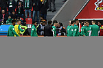17.03.2019, BayArena, Leverkusen, GER, DFL, 1. BL, Bayer 04 Leverkusen vs SV Werder Bremen, DFL regulations prohibit any use of photographs as image sequences and/or quasi-video<br /> <br /> im Bild die Mannschaft von Werder Bremen beim Aufwaermen<br /> <br /> Foto © nph/Mauelshagen
