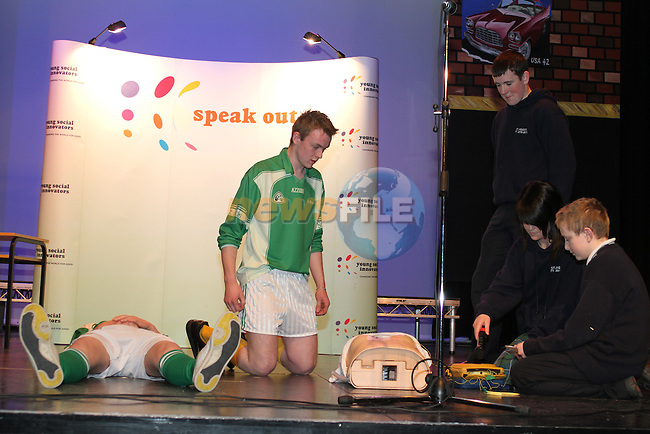 Difibilator performance at the Young Social Innovators Event in The TLT...(Photo credit should read Jenny Matthews/www.newsfile.ie)....This Picture has been sent you under the conditions enclosed by:.Newsfile Ltd..The Studio,.Millmount Abbey,.Drogheda,.Co Meath..Ireland..Tel: +353(0)41-9871240.Fax: +353(0)41-9871260.GSM: +353(0)86-2500958.email: pictures@newsfile.ie.www.newsfile.ie.