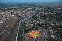 Aerial views of Bell Game, Pueblo, Colorado.  Centennial and Central High Schools.  2013