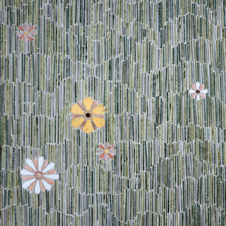 Meadow, a hand-cut stone mosaic, shown in tumbled Kay's Green, Wujan Jade, and Chartreuse, and polished Emperador Dark, Joanna, Blush, Rosa Noreiga, Thassos and Rosa Portogallo, is part of the Metamorphosis Collection by Sara Baldwin for New Ravenna Mosaics.