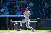 Salt River Rafters left fielder Luke Raley (53), of the Minnesota Twins organization, follows through on his swing during an Arizona Fall League game against the Surprise Saguaros on October 9, 2018 at Surprise Stadium in Surprise, Arizona. The Rafters defeated the Saguaros 10-8. (Zachary Lucy/Four Seam Images)