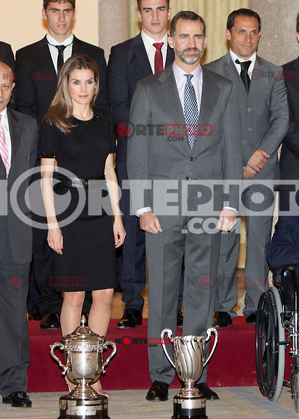 Princess Letizia of Spain and Prince Felipe of Spain attend the National Sports Awards ceremony at El Pardo Palace. December 05, 2012. (ALTERPHOTOS/Caro Marin) NortePhoto