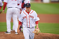 Salem Red Sox starting pitcher Jake Thompson (41) walks back to the dugout after a pitching change during the first game of a doubleheader against the Potomac Nationals on June 11, 2018 at Haley Toyota Field in Salem, Virginia.  Potomac defeated Salem 9-4.  (Mike Janes/Four Seam Images)