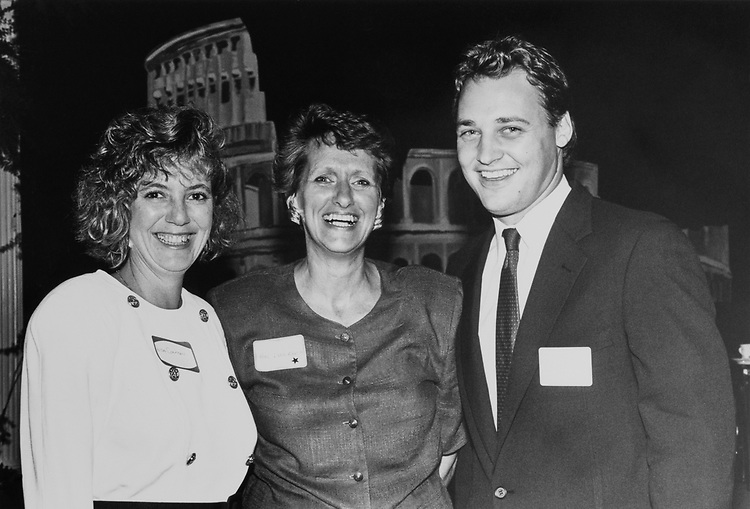 "Rep. Lynn Morley Martin, R-Ill., with her daughter-in-law Liza and step-son John Leinenweber at ""Ripon"" reception on Aug. 9, 1990. (Photo by Laura Patterson/CQ Roll Call)"