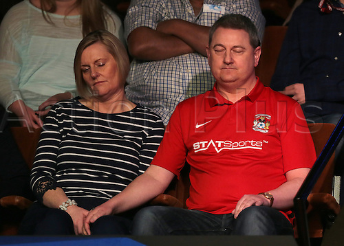 30.04.2016. The Crucible, Sheffield, England. World Snooker Championship. Semi Final, Mark Selby versus Marco Fu. The longest frame in history, (76:11) proves too much for two of The Crucible Theatre spectators