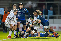 6th March 2020; AJ Bell Stadium, Salford, Lancashire, England; Premiership Rugby, Sale Sharks versus London Irish; Sean O'Brien of London Irish is tackled by Marland Yarde of Sale Sharks