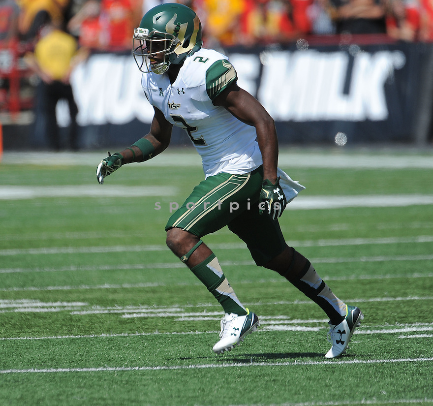 South Florida Bulls Jamie Byrd (2) during a game against the Maryland Terrapins on September 19, 2015 at Byrd Stadium in College Park, MD. Maryland beat South Florida 35-17.