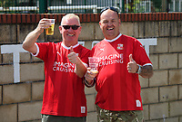 Swindon Town fans enjoy the pre-match atmosphere in the fan zone<br /> <br /> Photographer Chris Vaughan/CameraSport<br /> <br /> The EFL Sky Bet League Two - Lincoln City v Swindon Town - Saturday 11th August 2018 - Sincil Bank - Lincoln<br /> <br /> World Copyright &copy; 2018 CameraSport. All rights reserved. 43 Linden Ave. Countesthorpe. Leicester. England. LE8 5PG - Tel: +44 (0) 116 277 4147 - admin@camerasport.com - www.camerasport.com
