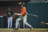 Steven Williams (41) of the Auburn Tigers follows through on his swing against the Army Black Knights at Doak Field at Dail Park on June 2, 2018 in Raleigh, North Carolina. The Tigers defeated the Black Knights 12-1. (Brian Westerholt/Four Seam Images)