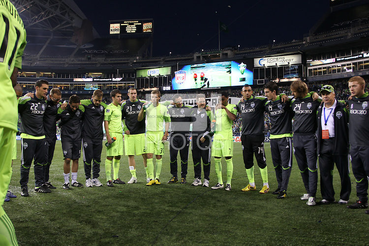 Players of the Seattle Sounders FC circle up before their match. The Seattle Sounders FC defeated the Columbus Crew 2-1 during the US Open Cup Final at Qwest Field in Seattle,WA, on October 5, 2010.