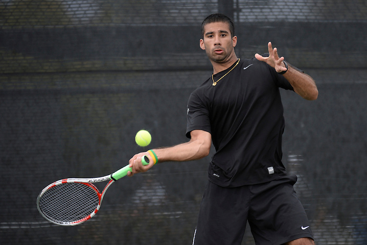 April 24, 2013; San Diego, CA, USA; Portland Pilots player Ratan Gill during the WCC Tennis Championships at Barnes Tennis Center.