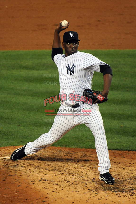 New York Yankees pitcher Rafael Soriano #29 during ALDS game #5 against the Detroit Tigers at Yankee Stadium on October 06, 2011 in Bronx, NY.  Detroit defeated New York 3-2 to take the series 3 games to 2 games.  Tomasso DeRosa/Four Seam Images