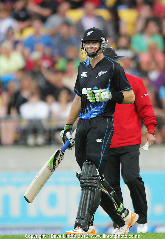Martin Guptill in action during the International Twenty20 cricket match between the New Zealand Black Caps and England at Westpac Stadium, Wellington, New Zealand on Friday, 15 February 2013. Photo: Dave Lintott / lintottphoto.co.nz