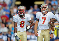 Sept. 19, 2009; Provo, UT, USA; Florida State Seminoles quarterback (7) Christian Ponder and and wide receiver (8) Taiwan Easterling against the BYU Cougars at LaVell Edwards Stadium. Florida State defeated BYU 54-28. Mandatory Credit: Mark J. Rebilas-