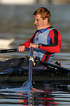 Rowing, single sculler Conal Groom at the finish, Lake Union, Seattle, Washington, Pacific Northwest, National team rower, .