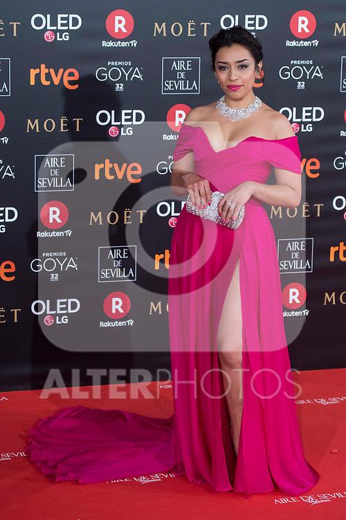 Adriana Paz attends red carpet of Goya Cinema Awards 2018 at Madrid Marriott Auditorium in Madrid , Spain. February 03, 2018. (ALTERPHOTOS/Borja B.Hojas)