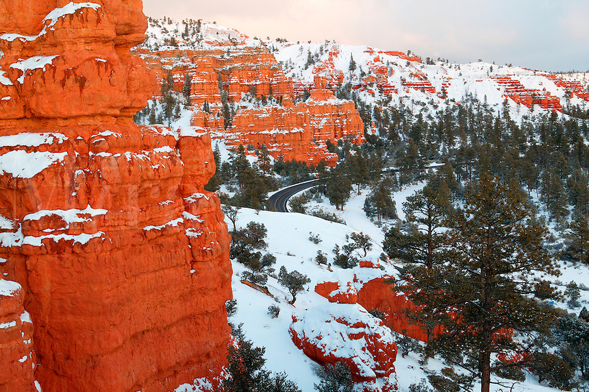 Scenic Byway highway 12, Red Canyon in the winter, Dixie National Forest, Utah.