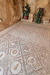 Jerusalem, Israel, The 5th century Byzantine mosaic at the Church of Dominus Flevit on the Mount of Olives<br />