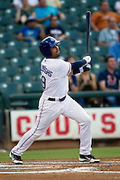 Round Rock Express outfielder Ryan Spilborghs #19 doubles during the Pacific Coast League baseball game against the Sacramento River Cats on May 22, 2012 at The Dell Diamond in Round Rock, Texas. The Express defeated the River Cats 11-5. (Andrew Woolley/Four Seam Images)